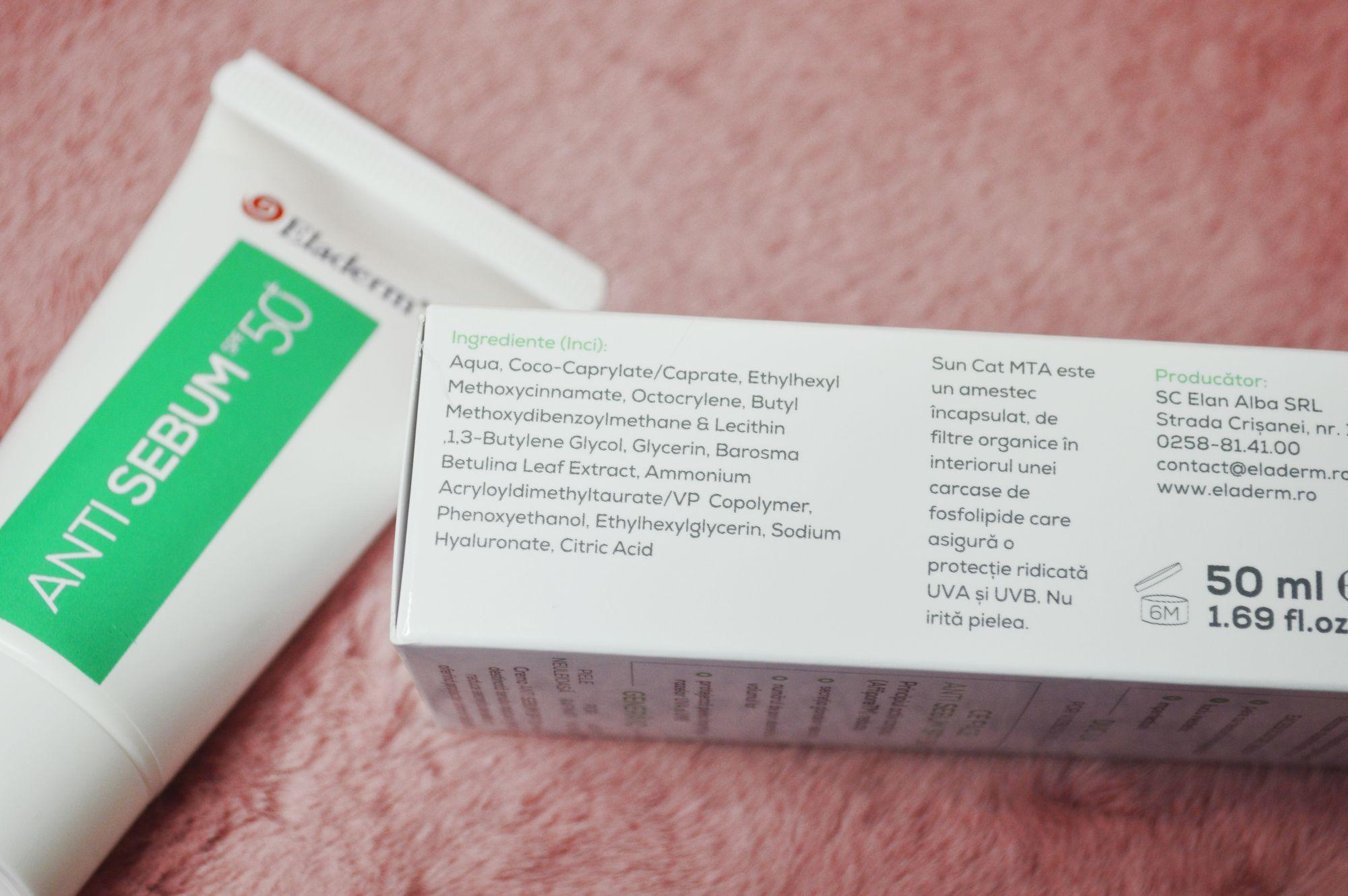 eladerm anti sebum spf50 ingrediente
